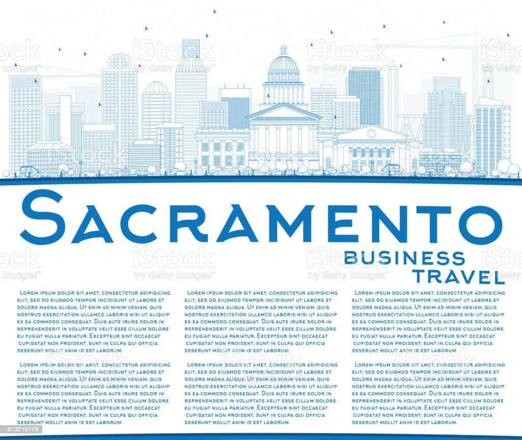 Outline Sacramento Skyline with Blue Buildings and Copy Space. vector art illustration