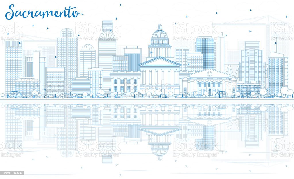 Outline Sacramento Skyline with Blue Buildings and Reflections. vector art illustration