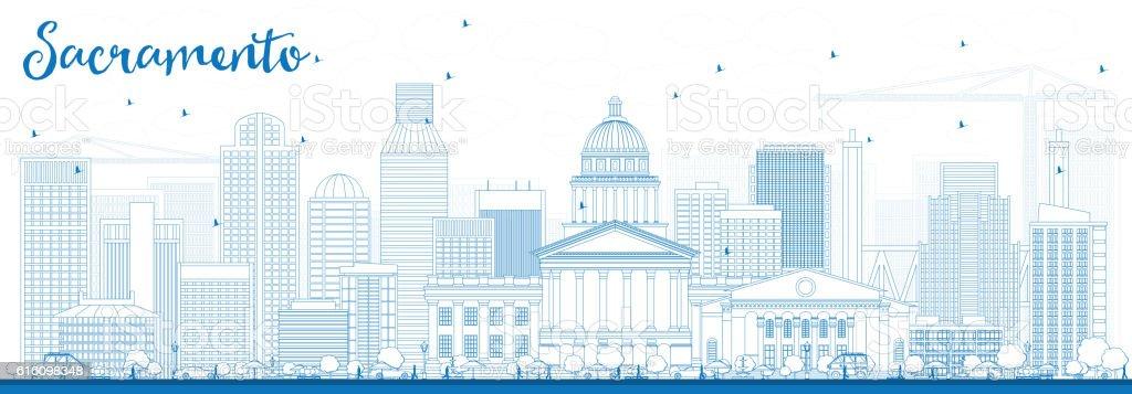 Outline Sacramento Skyline with Blue Buildings. vector art illustration