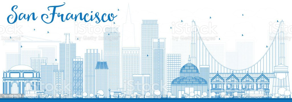 Outline San Francisco Skyline with Blue Buildings. vector art illustration