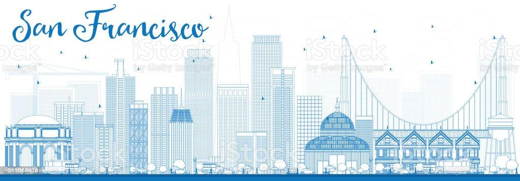 Outline San Francisco Skyline with Blue Buildings. vector art illustration