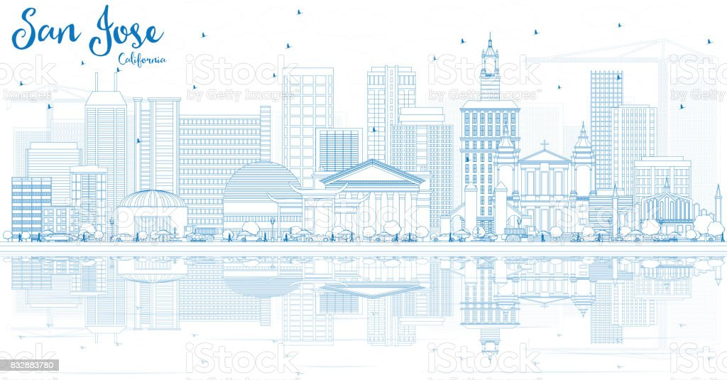 Outline San Jose California Skyline with Blue Buildings and Reflections. vector art illustration