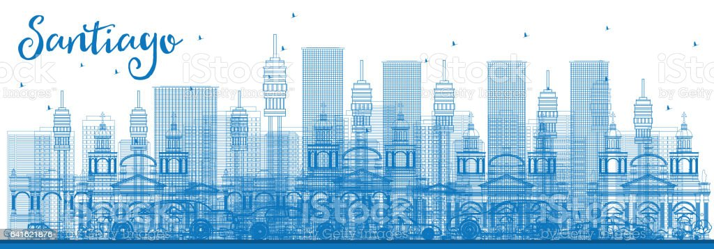 Outline Santiago Chile Skyline with Blue Buildings. vector art illustration