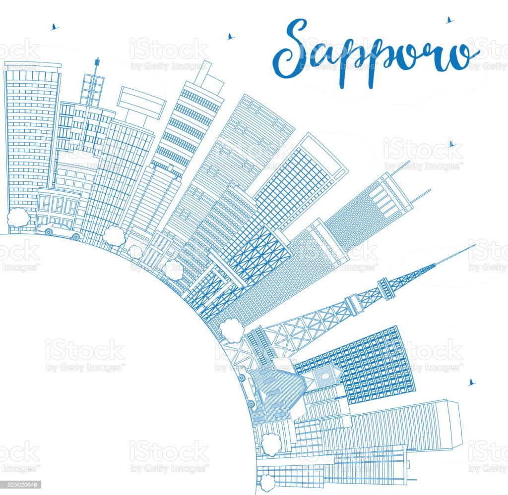 Outline athens skyline with blue buildings and copy space stock vector - Outline Sapporo Skyline With Blue Buildings And Copy Space Royalty Free Stock Vector Art