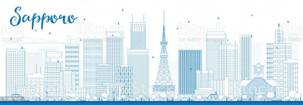 Outline Sapporo Skyline with Blue Buildings. vector art illustration