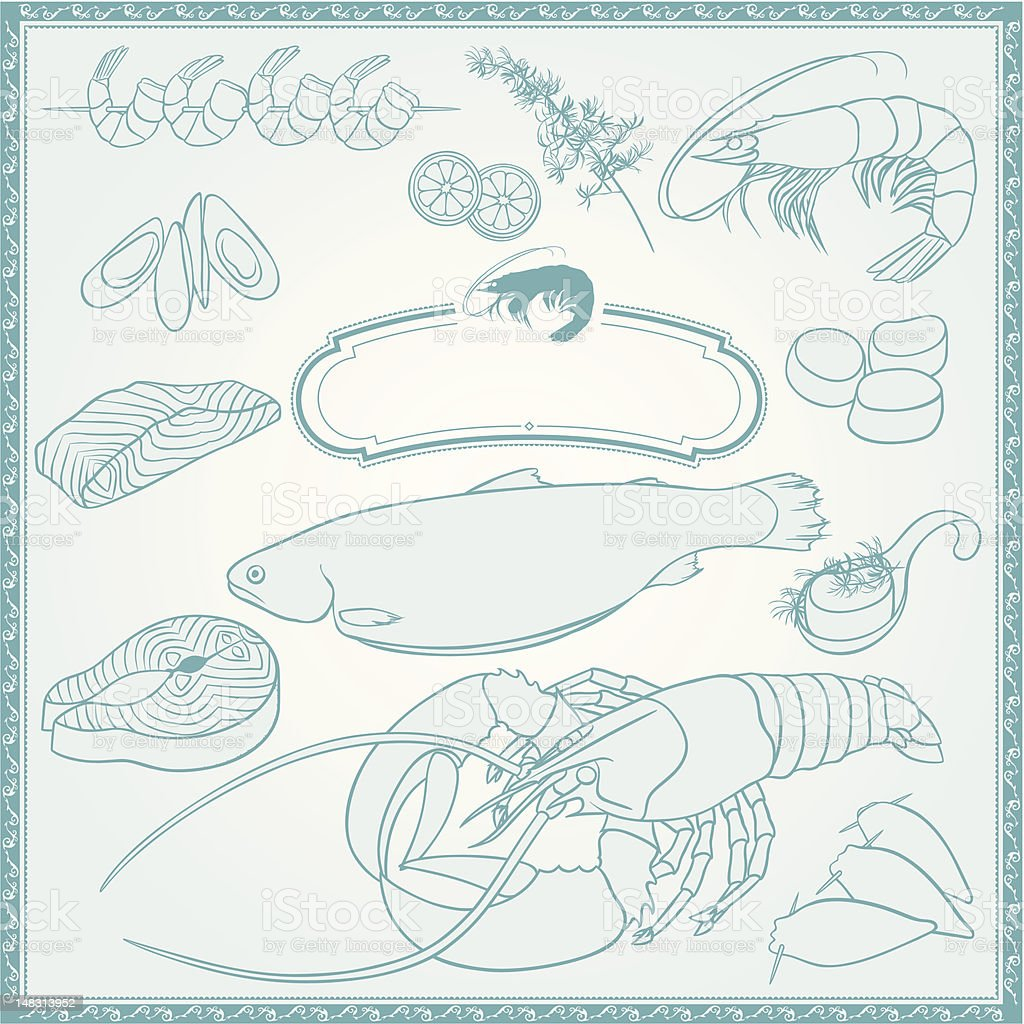 Outline Seafood Set royalty-free stock vector art