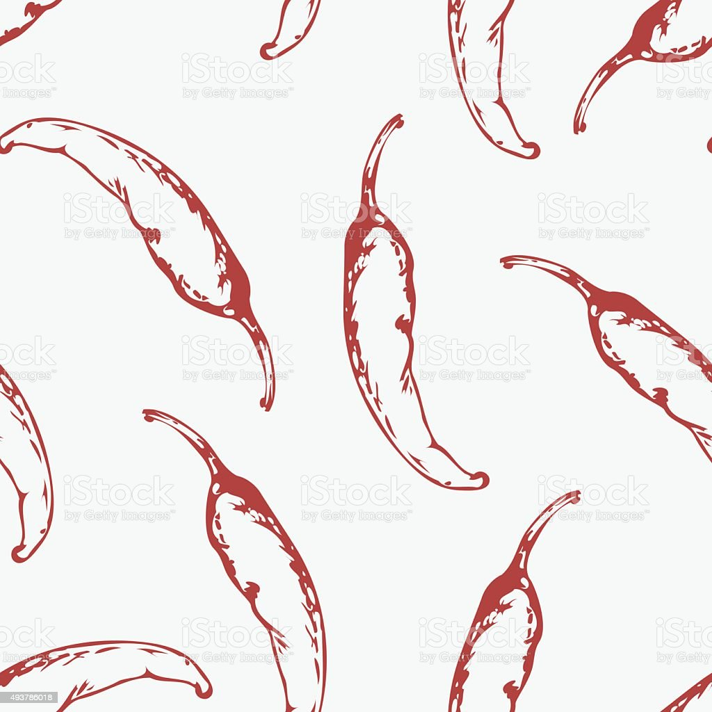 Outline seamless pattern with hand drawn chili peppers vector art illustration