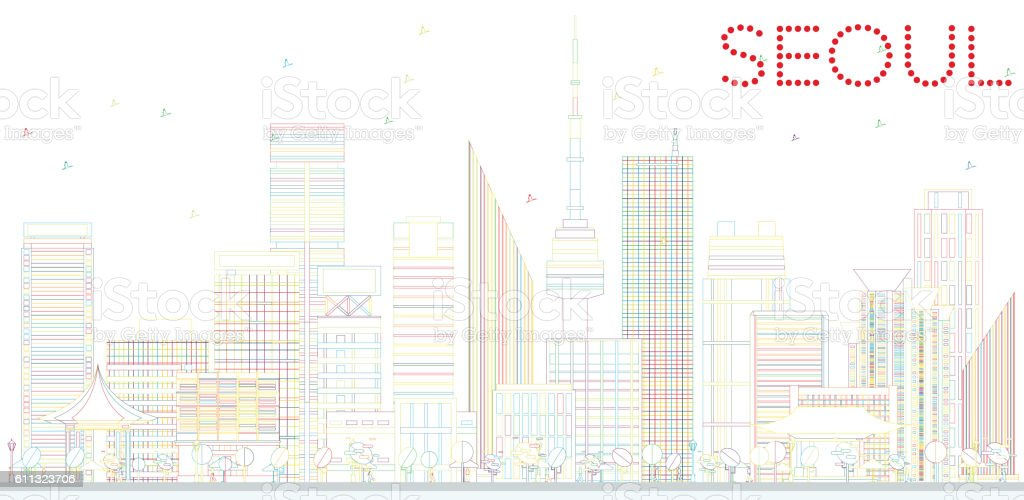 Outline Seoul Skyline with Color Buildings. vector art illustration