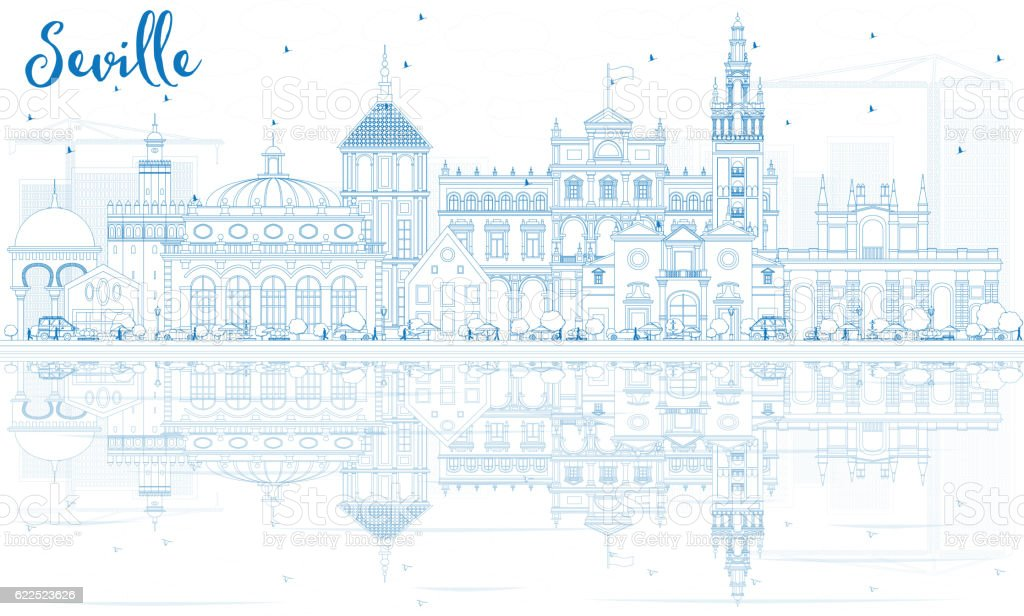 Outline Seville Skyline with Blue Buildings and Reflections. vector art illustration