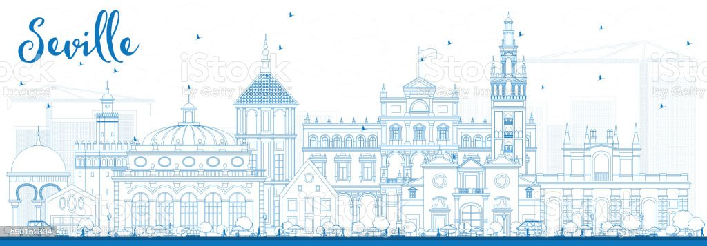Outline Seville Skyline with Blue Buildings. vector art illustration