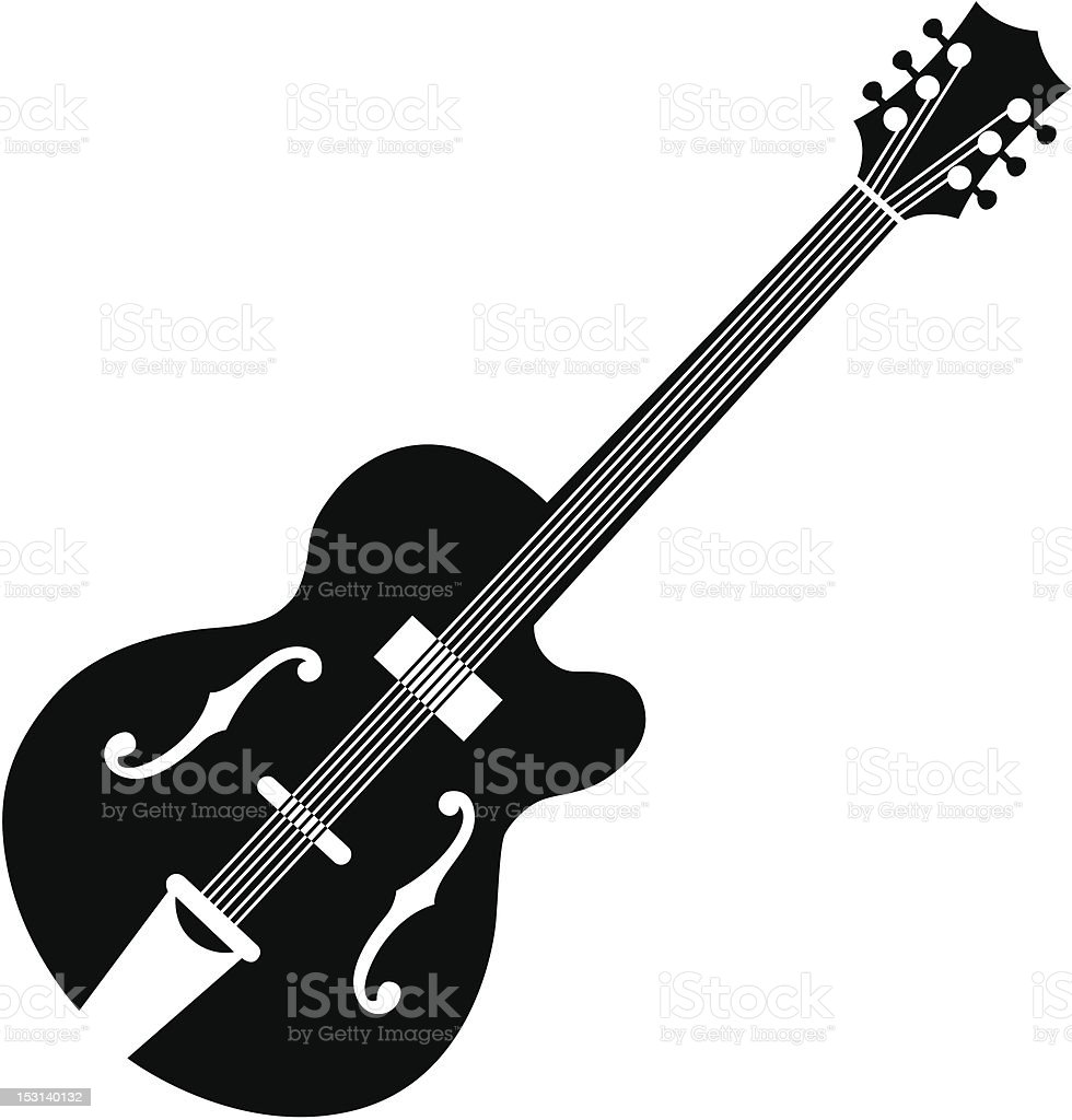 Outline siIlhouette graphic of an acoustic guitar on white vector art illustration