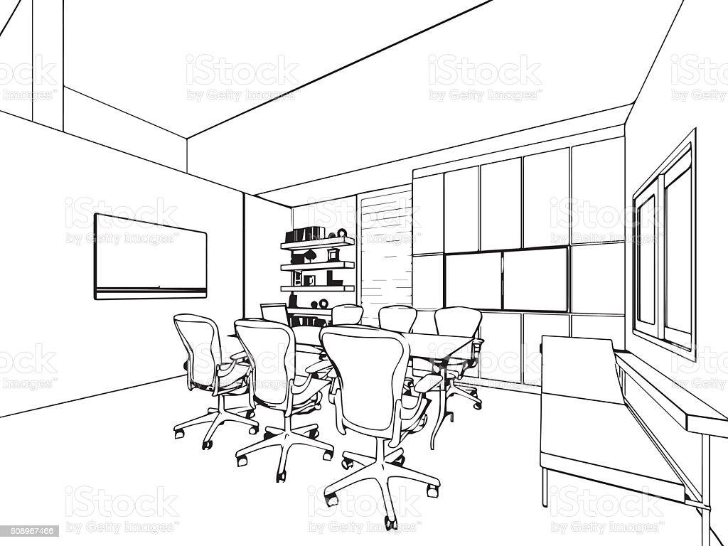 Kontur skizze zeichnung innen perspektive eines raumes for Dibujo de una oficina moderna