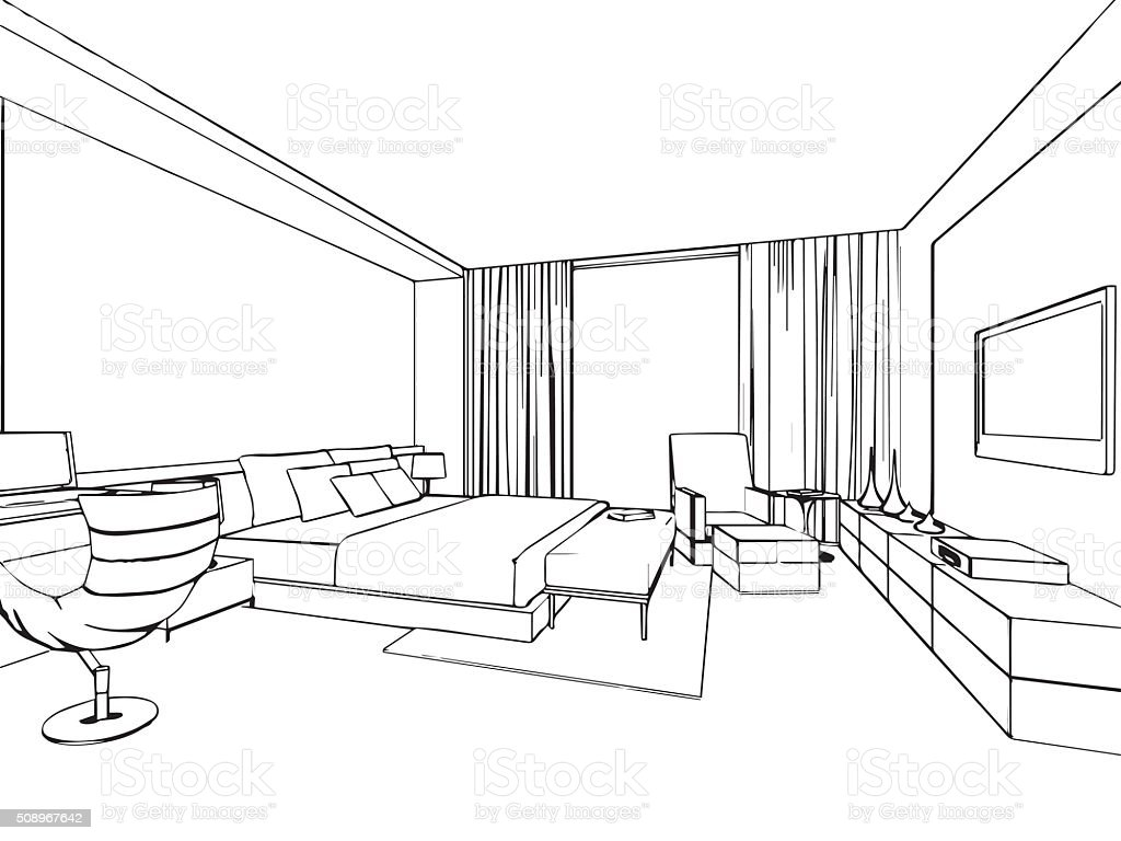 Bedroom drawing perspective - Blueprint Furniture Plan Architecture Bedroom Outline Sketch Drawing Interior Perspective