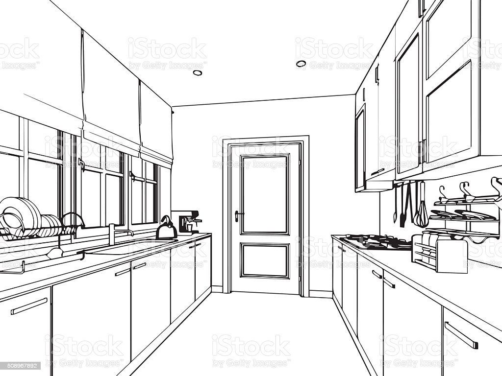 Kitchen perspective drawing - Blueprint Built Structure Furniture Kitchen Plan Outline Sketch Drawing Interior Perspective