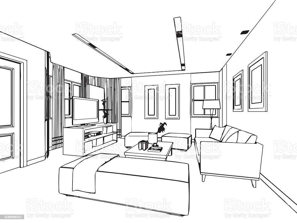 All rooms in the house rooms of homes vector art image illustration - Blueprint Built Structure Domestic Room Furniture Home Interior Outline Sketch Drawing Interior Perspective Of House