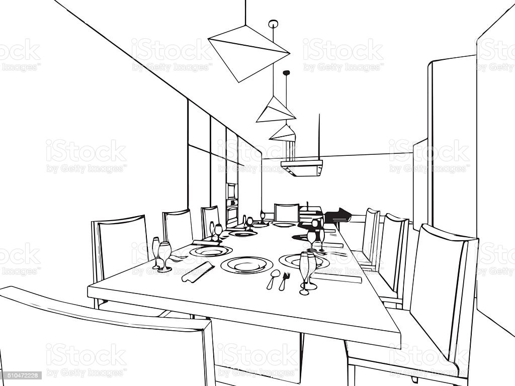 outline sketch drawing interior perspective of house vector art illustration