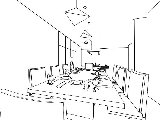 Dining Room Icon Vector Art Illustration Outline Sketch Drawing Interior Perspective Of House
