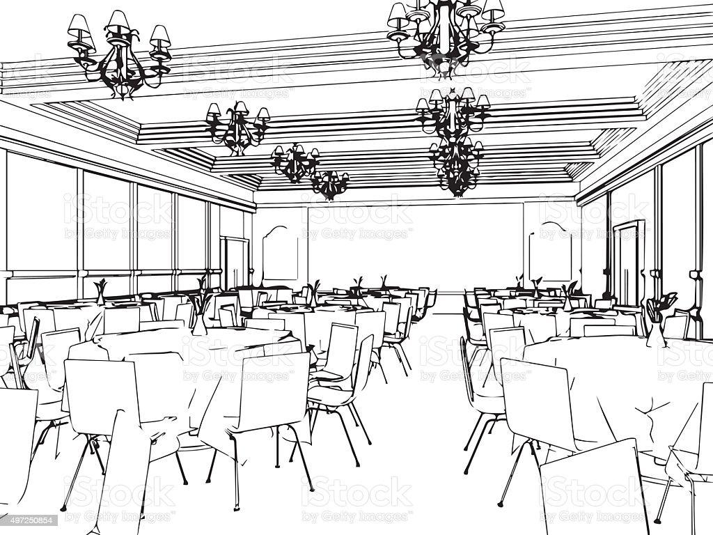 outline sketch of a interior vector art illustration