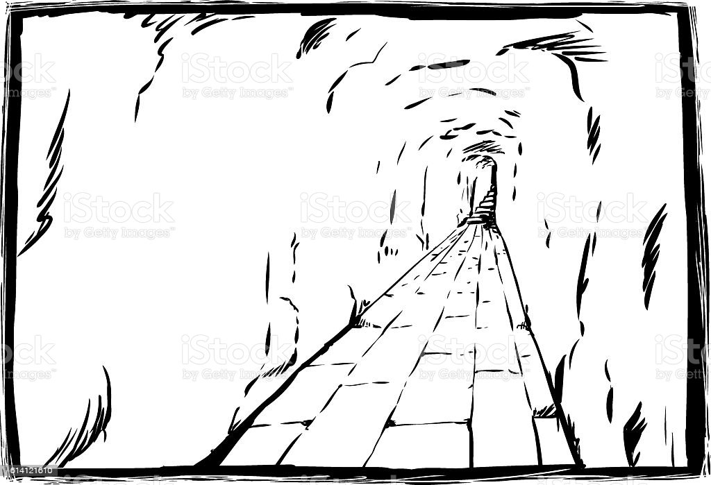 Outline sketch of long underground passage with copy space vector art illustration