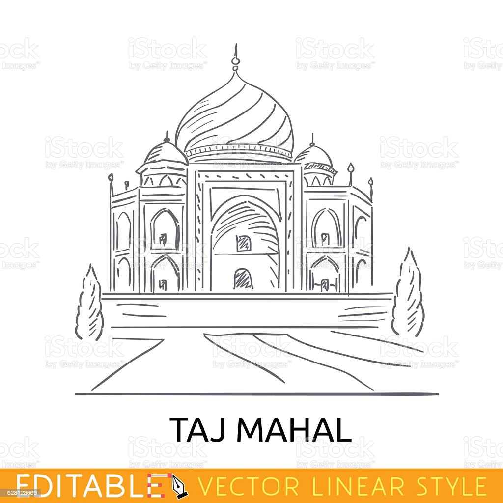 outline sketch taj mahal famouse building seven wonders of the