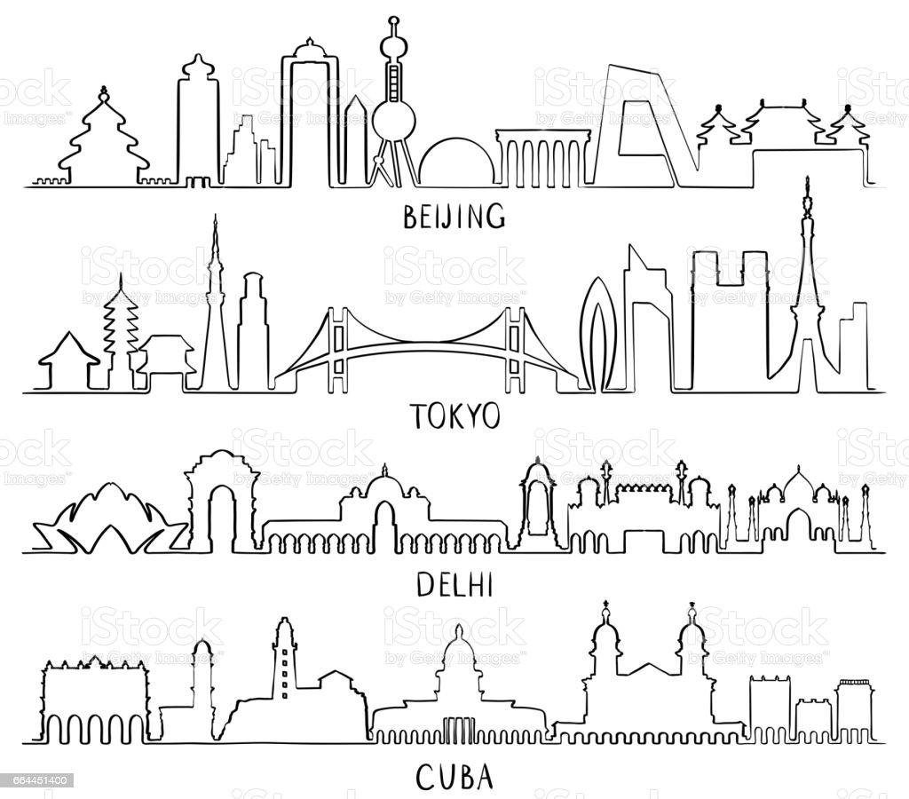 Outline Skyline with city Landmarks (Beijing, Tokyo, New Delhi, Cuba) vector art illustration