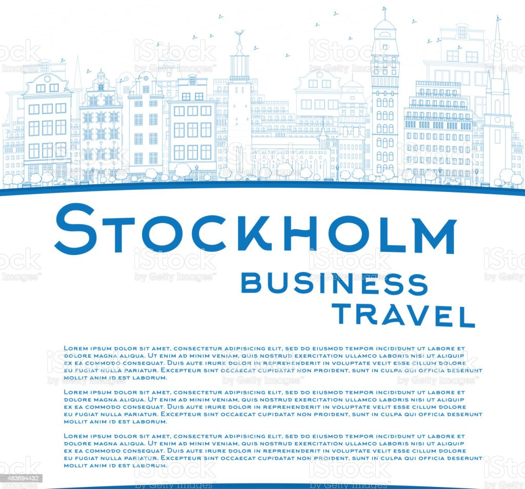 Outline athens skyline with blue buildings and copy space stock vector - Outline Stockholm Skyline With Blue Buildings And Copy Space Royalty Free Stock Vector Art