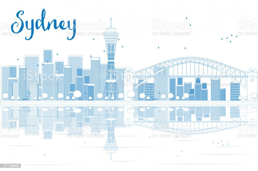 Outline Sydney City skyline with skyscrapers and reflections. vector art illustration
