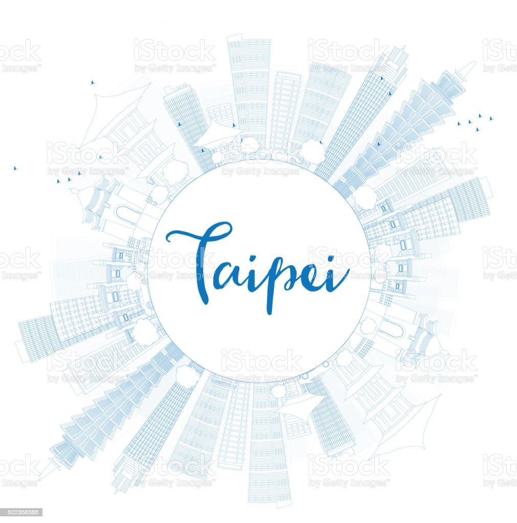 Outline Taipei skyline with blue landmarks and copy space. vector art illustration
