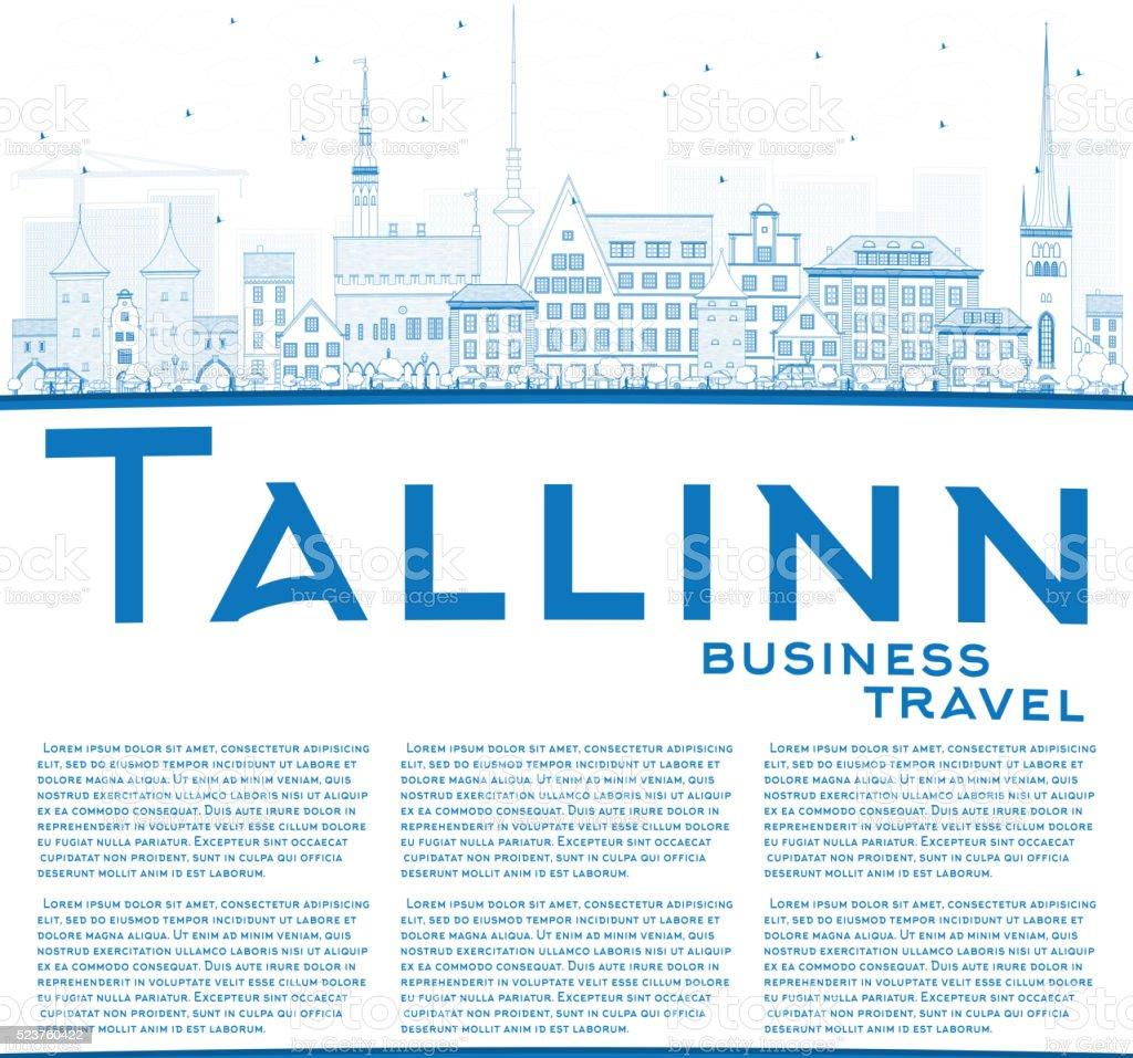 Outline athens skyline with blue buildings and copy space stock vector - Outline Tallinn Skyline With Blue Buildings And Copy Space Royalty Free Stock Vector Art