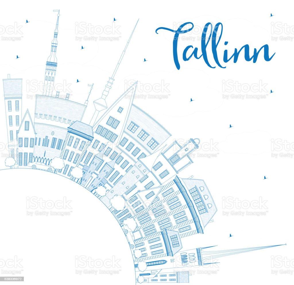 Outline Tallinn Skyline with Blue Buildings and Copy Space. vector art illustration