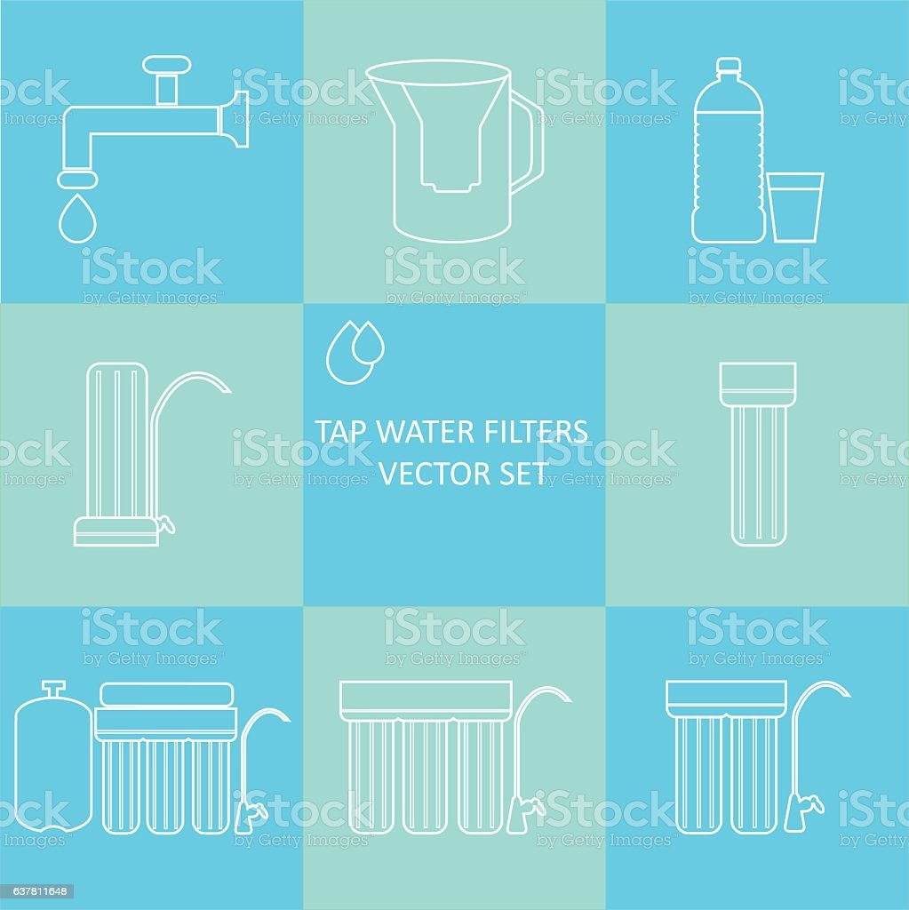 Outline tap water filter icon set vector art illustration