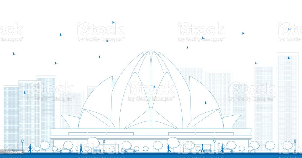 Outline The Lotus Temple, located in New Delhi, India vector art illustration