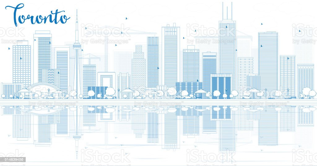 Outline Toronto skyline with blue buildings and reflections. vector art illustration