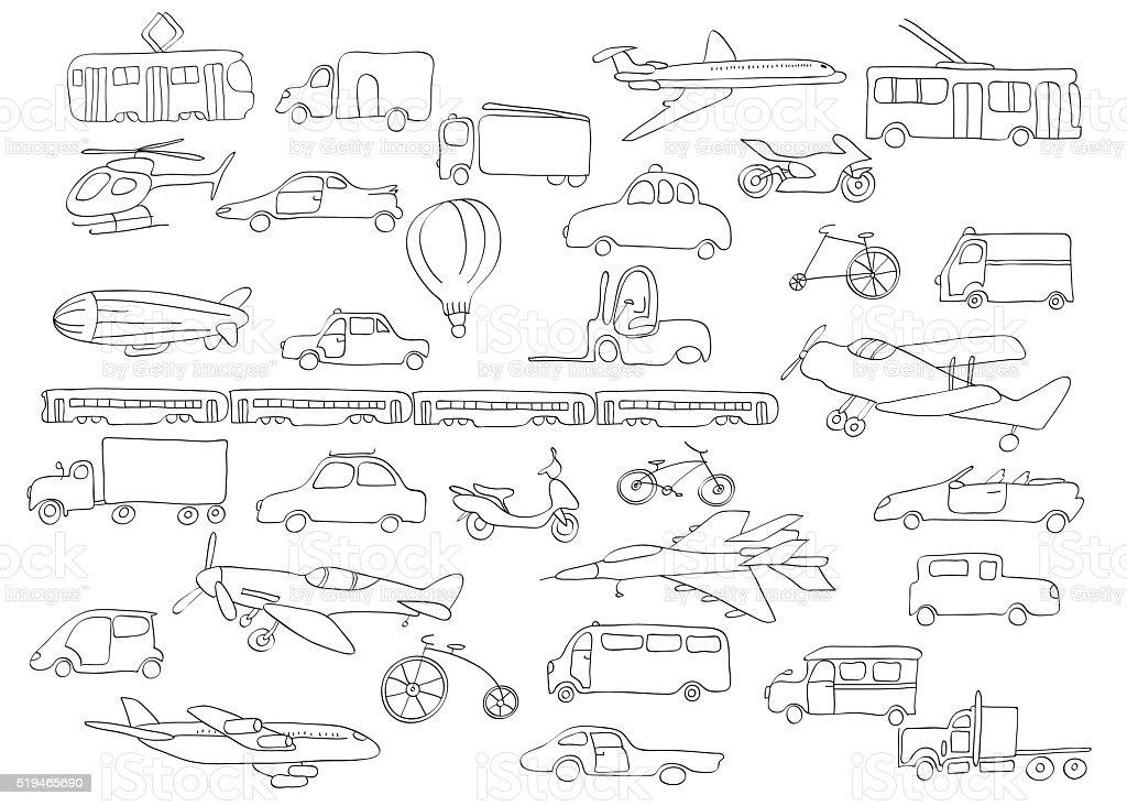 outline transport set vector art illustration