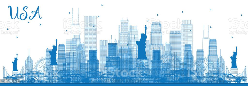 Outline USA Skyline with Blue Skyscrapers and Landmarks. vector art illustration