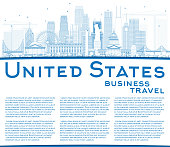 Outline USA Skyline with Blue Skyscrapers, Landmarks and Copy Sp
