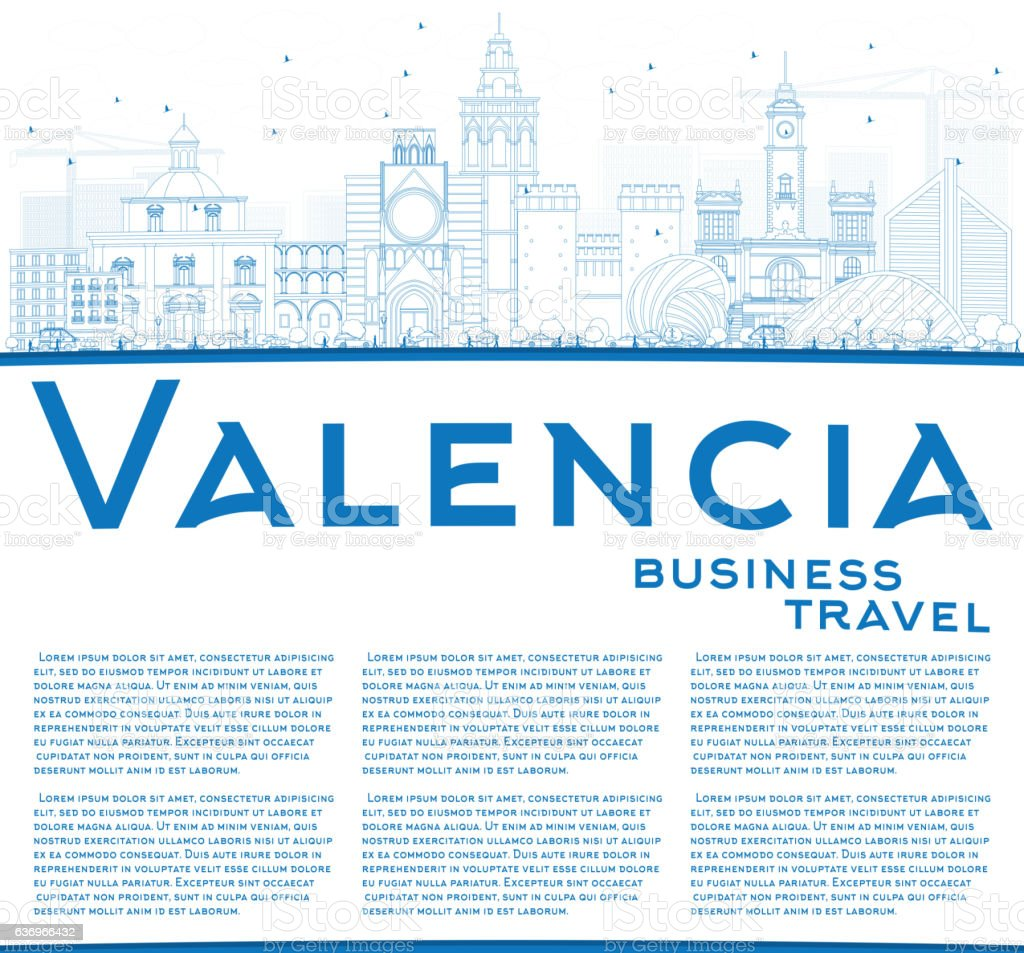 Outline Valencia Skyline with Blue Buildings and Copy Space. vector art illustration