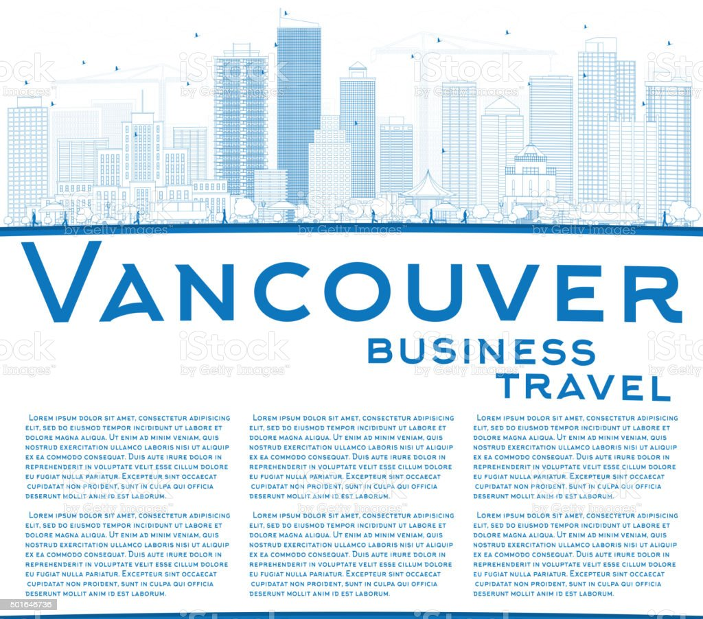 Outline Vancouver skyline with blue buildings and copy space. vector art illustration