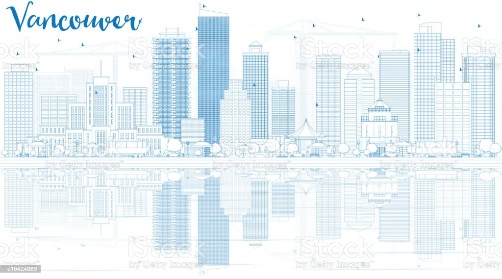 Outline Vancouver skyline with blue buildings and reflections. vector art illustration