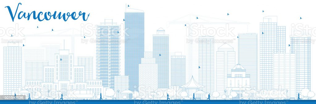 Outline Vancouver skyline with blue buildings. vector art illustration