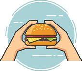 Outline vector hand holding a hamburger