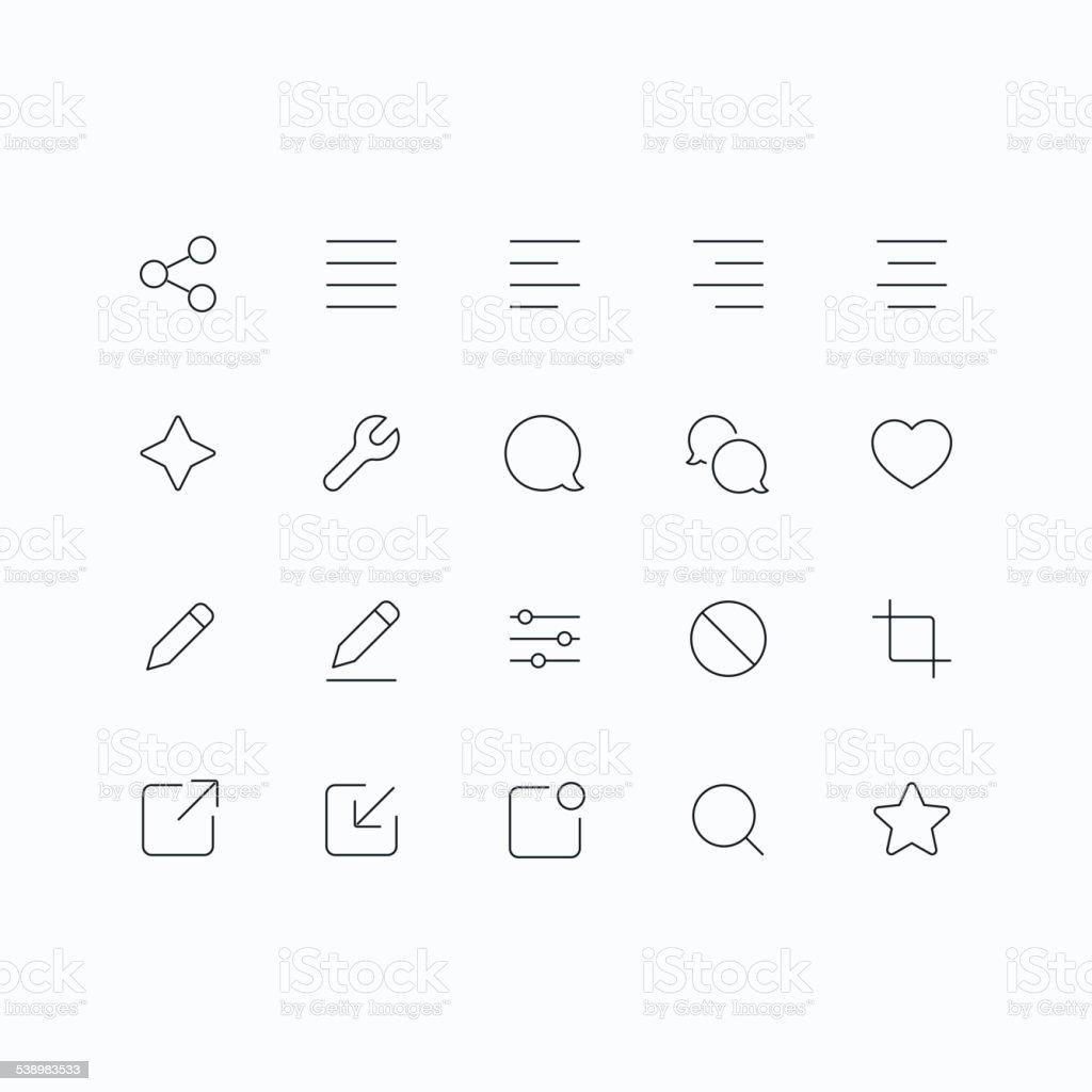 Outline vector icons for mobile vector art illustration