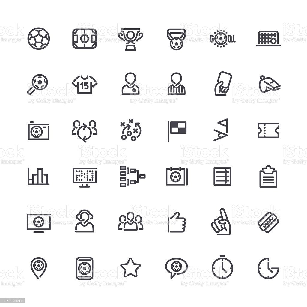 Outline Vector Icons on the Theme of Soccer vector art illustration