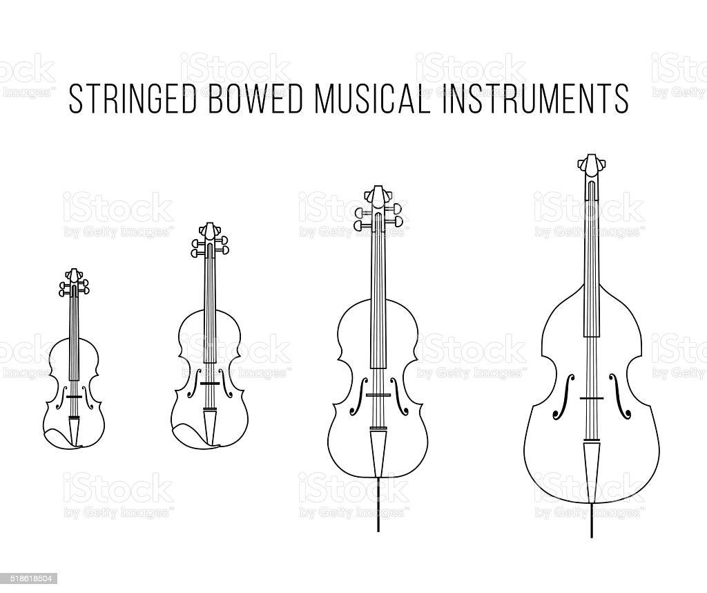 Outline Vector StringedBowed Musical Instruments vector art illustration