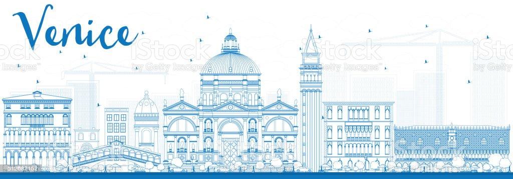 Outline Venice Skyline Silhouette with Blue Buildings. vector art illustration