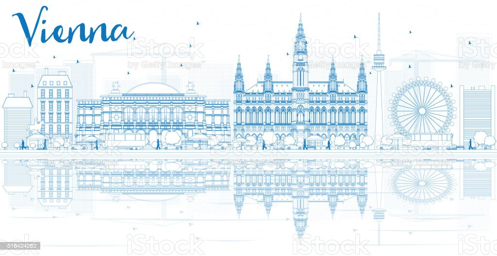 Outline Vienna Skyline with Blue Buildings and Reflections. vector art illustration