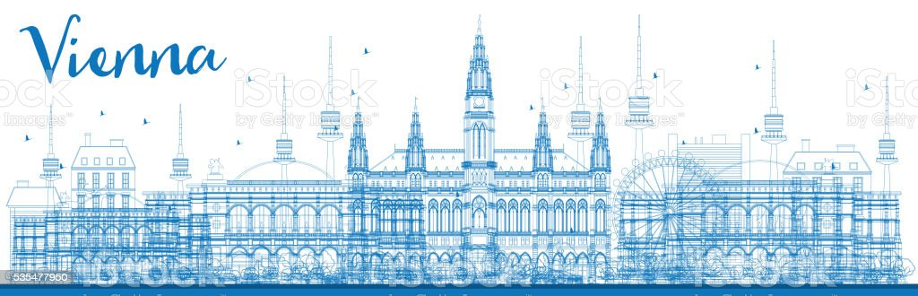 Outline Vienna Skyline with Blue Buildings. vector art illustration
