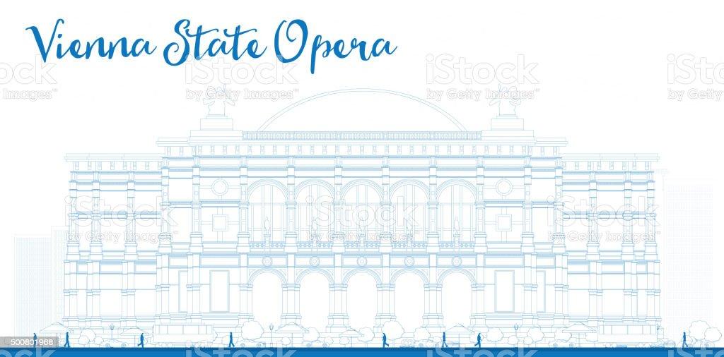 Outline Vienna State Opera. Vector illustration. vector art illustration