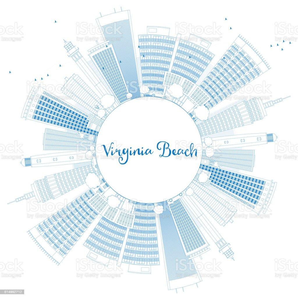 Outline Virginia Beach (Virginia) Skyline with Blue Buildings. vector art illustration