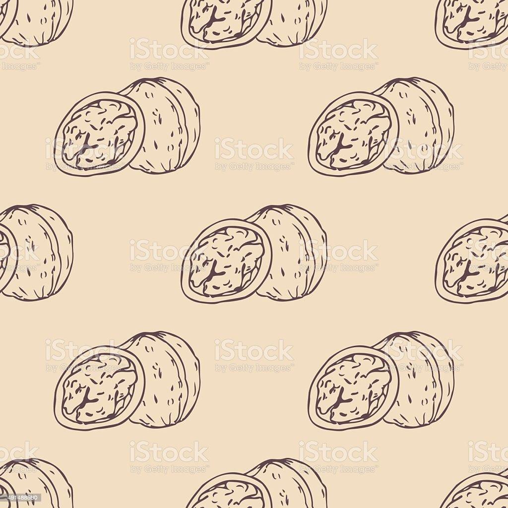 Outline walnut seamless pattern vector art illustration